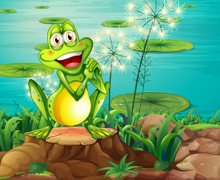 Illustration of a frog above the stump near the pond Vector