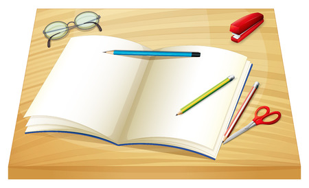 Illustration of a table with an empty notebook, pencils, stapler and a scissor on a white background Vector