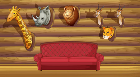 stuffed animal: Illustration of a wall with stuffed head decorations