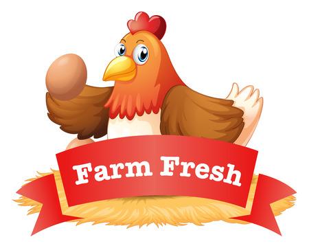 Illustration eines Geflügel Etikett auf einem weißen Hintergrund
