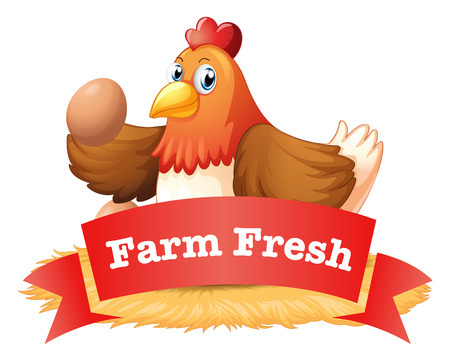 huevo caricatura: Ilustraci�n de una etiqueta de aves de corral en un fondo blanco Vectores