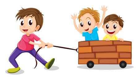 Ilustración de los tres chicos que juegan en un fondo blanco