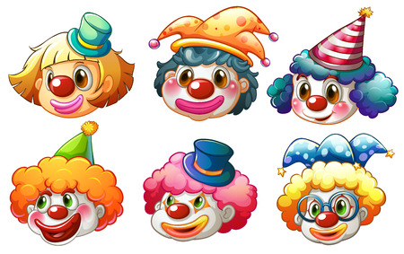Illustration of the different faces of a clown on a white background