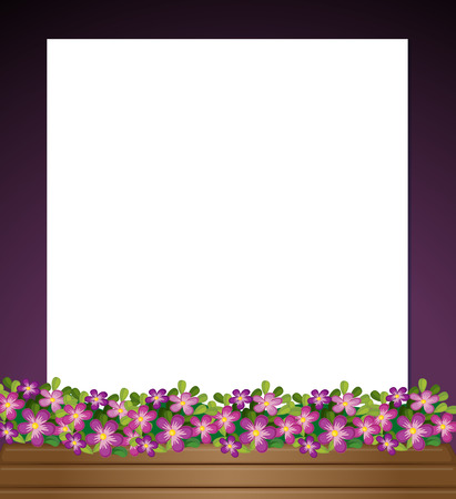 flower blooming: Illustration of an empty paper template with a garden at the bottom