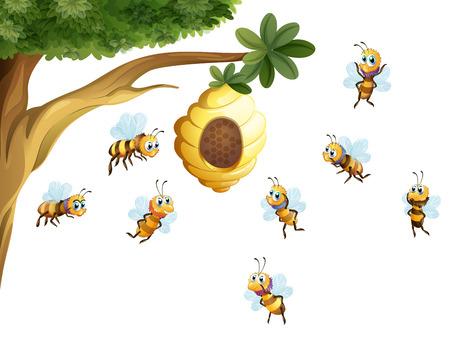 abeja: Ilustración de un árbol con una colmena rodeada de abejas en un fondo blanco
