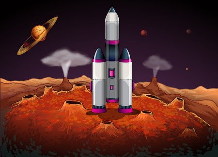 Illustration of a rocket at the outerspace with planets Vector