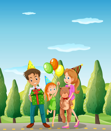 Illustration of a family at the street Vector
