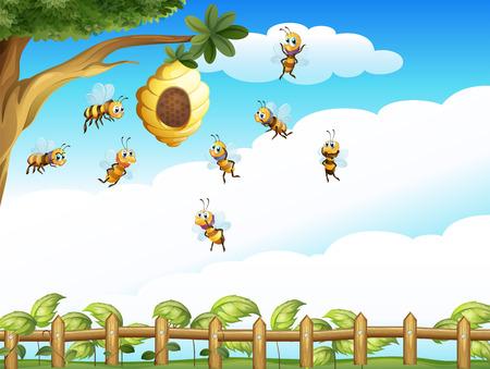 abeja caricatura: Ilustración de un árbol con una colmena y un grupo de abejas