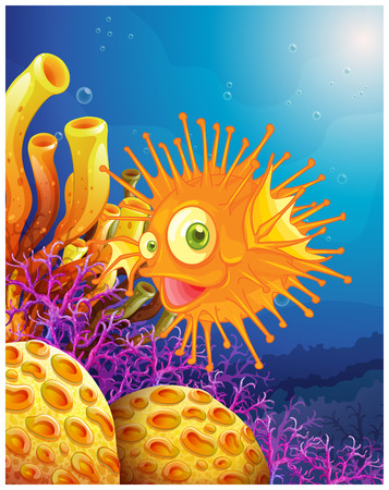 cartoon swimming: Illustration of an orange puffer fish near the coral reefs on a white background