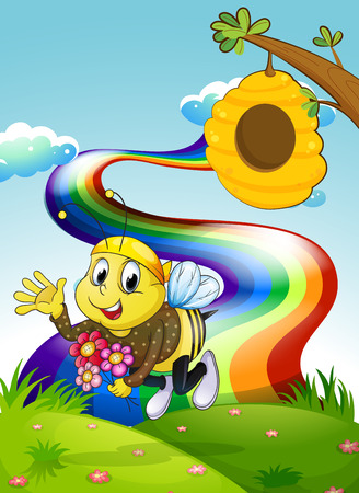 hilltop: Illustration of a rainbow at the hilltop with a bee and a beehive