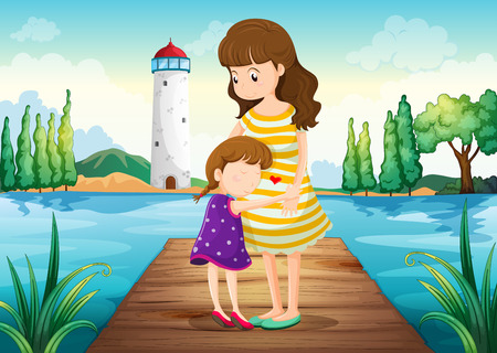 Illustration of a young girl hugging her mother at the bridge Vector