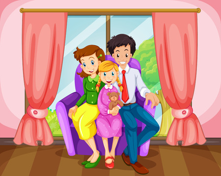 Illustration of a family at the living room Vector
