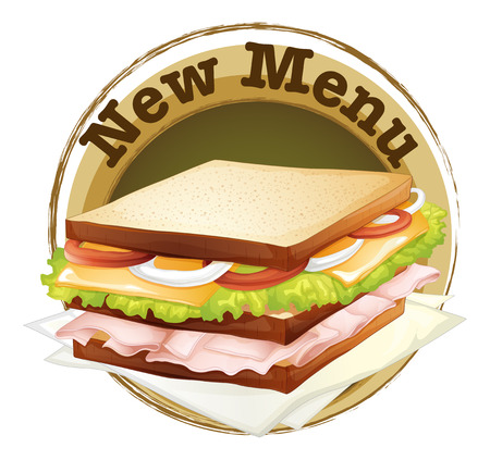 ham sandwich: Illustration of a new menu label on a white background