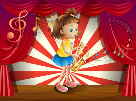 Illustration of a young musician at the stage Illustration