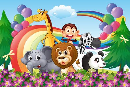 Ilustración de un grupo de animales en la cima de una colina con un arco iris y globos Foto de archivo - 25935244