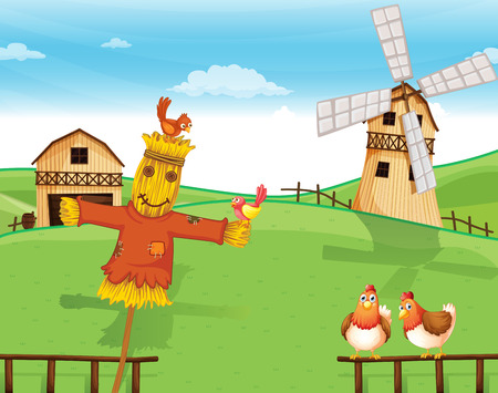 rotating: Illustration of a farm with a scarecrow