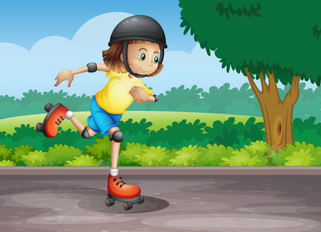 rollerskating: Illustration of a young girl rollerskating at the street
