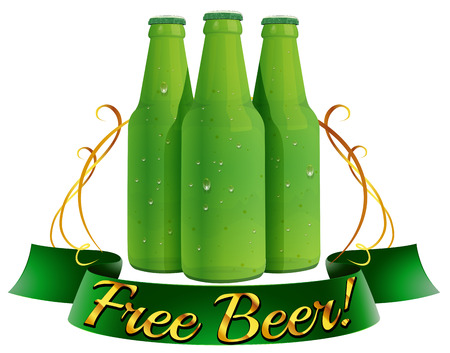 free image: Illustration of a free beer label on a white background