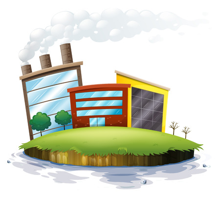 establishments: Illustration of an island with factories on a white background