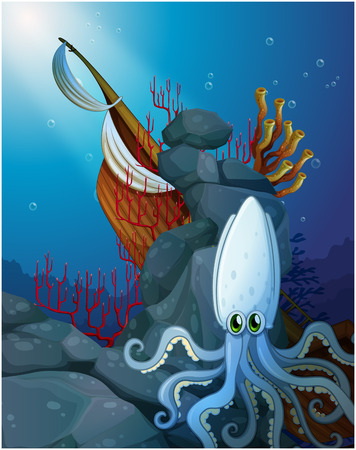 wrecked: Illustration of an octopus under the sea near the wooden boat on a white background Illustration