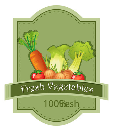 labelling: Illustration of the fresh vegetables label on a white background Illustration