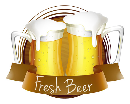 refreshed: Illustration of a fresh beer label on a white background Illustration