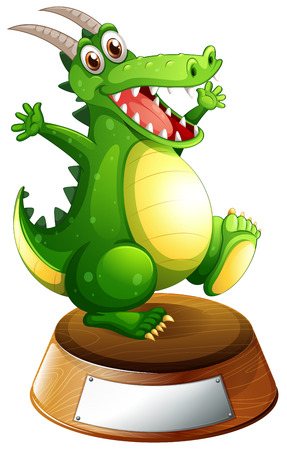 spines: Illustration of a smiling green dragon above the empty label on a white background