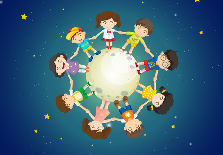 Illustration of the kids holding their hands together while standing above the Earth Vector