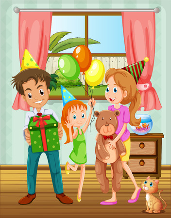 Illustration of a family inside the house near the window Vector