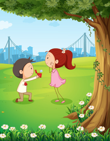 Illustration of a wedding proposal near the tree Vector