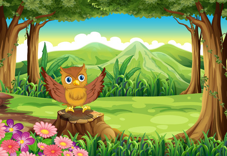Illustration of an owl at the forest standing above the stump Vector
