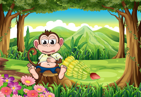 Illustration of a monkey at the forest with a full stomach