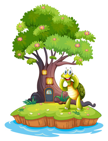 Illustration of an island with a big tree and a turtle on a white background Vector