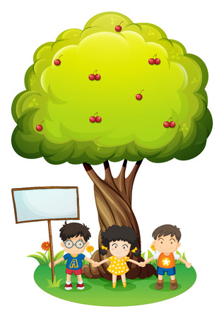 under tree: Illustration of the kids under the tree beside the empty wooden board on a white background Illustration