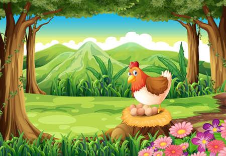gallina con huevos: Ilustración de una gallina que pone los huevos en el bosque Vectores