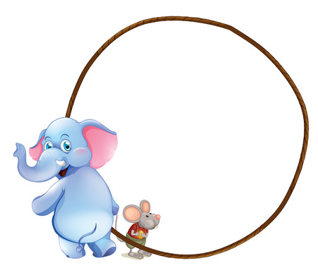 Illustration of a round empty template with an elephant and a mouse on a white background Vector