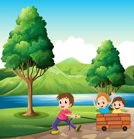 강둑: Illustration of the boys playing at the riverbank