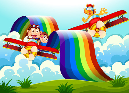Illustration of the playful animals near the rainbow above the hills Vector