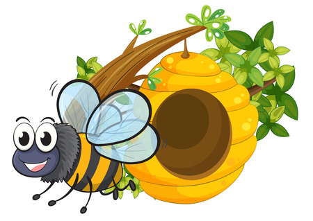 hindwing: Illustration of a smiling bee beside the beehive on a white background