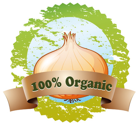Illustration of a pure organic label on a white background Illustration