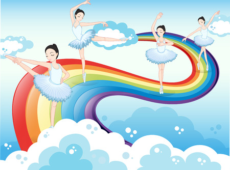 Illustration of the ballet dancers in the sky with a rainbow Vector