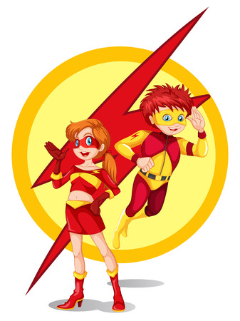 superpowers: Illustration of a male and a female hero on a white background