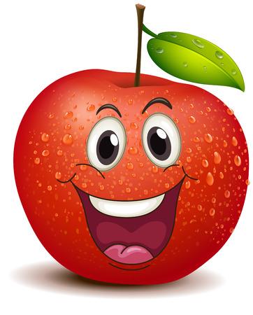 Ilustrace usmívající se jablko na bílém pozadí