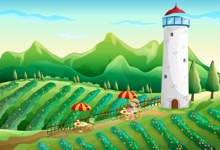Illustration of a farm with a young girl enjoying the ambiance Illustration