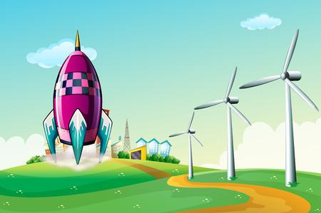 Illustration of a spaceship near the windmills Illustration