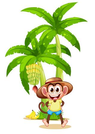 banana tree: Illustration of a very happy monkey near the banana plant on a white background