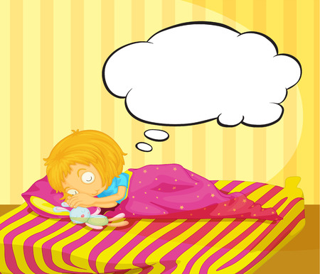 Illustration of a young girl dreaming Vector