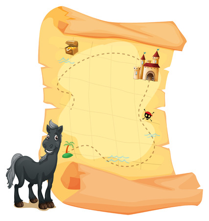 Illustration of a treasure map and a gray horse on a white background