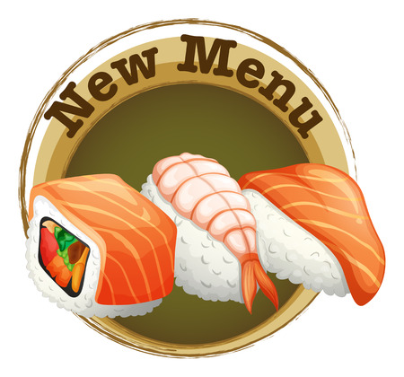 Illustration of a new menu label with sushi on a white background Vector