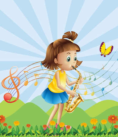 hilltop: Illustration of a young lady at the hilltop playing with her saxophone
